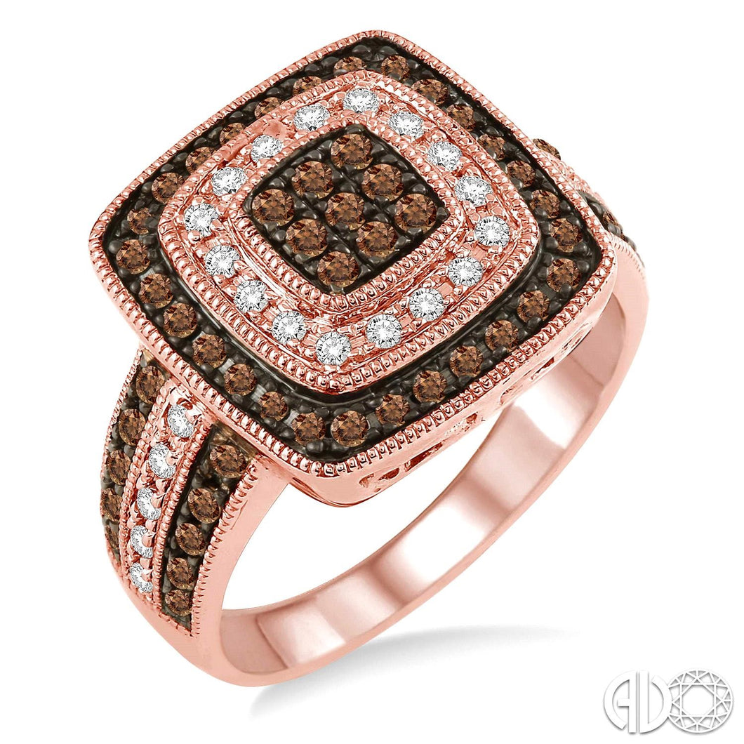 3/4 Ctw Square Shape Round Cut White and Champagne Brown Diamond Ring in 10K Pink Gold ASHI Style, New #33822TSPG
