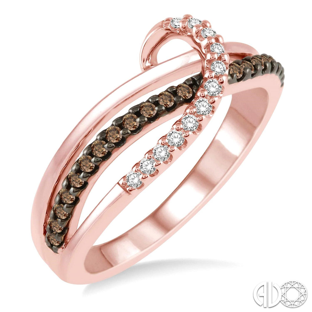 1/4 Ctw Triple Cut Shank Clear and Brown Diamond Ladies Ring in 10K Pink Gold ASHI Style New #34386TSPG