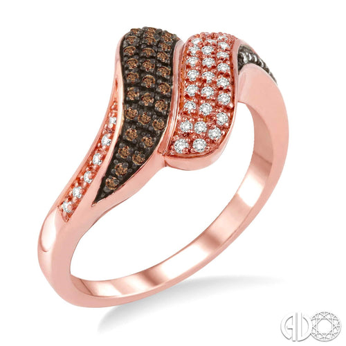 1/4 Ctw White and Champagne Brown Diamond Ring in 14K Pink Gold ASHI Style New #34726FSPG