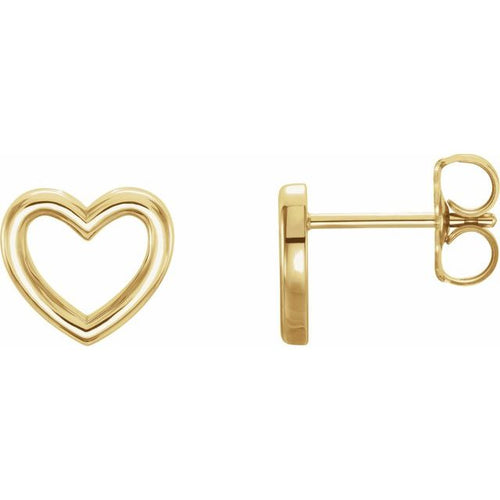 Ladies 14K Yellow Gold 8.7x8 mm Heart Earrings, New item#86328