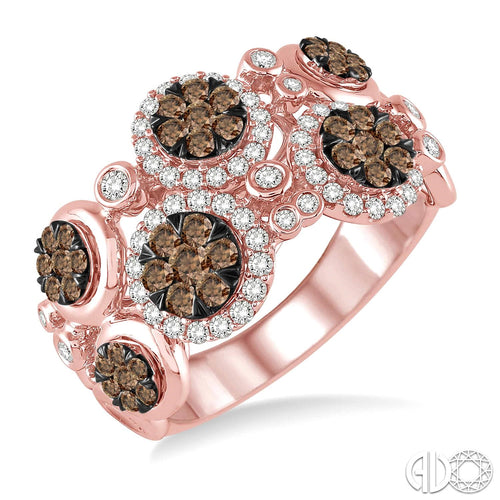 1 1/4 Ctw White and Champagne Brown Diamond Lovebright Ring In 14K Pink Gold ASHI Style New #35710FHPG