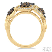 1 3/8 Ctw White and Champagne Brown Diamond Lovebright Ring In 14KY Gold ASHI Style New #35720FHYG