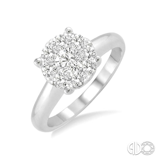 1/3 Ctw Lovebright Round Cut Diamond Ring in 14K White Gold, New item #36905FVWG