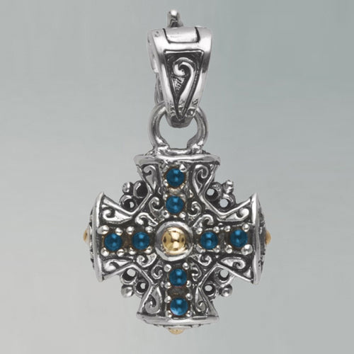 Arista blue topaz cross charm