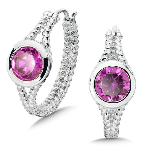 Colore Sg Sterling Silver Created Pink Sapphire Essentials Hoop Earrings