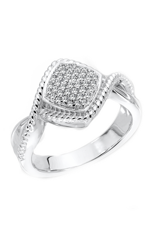 Colore Sg Sterling Silver White Diamond Ring, New Item #LVR481-DI.SA
