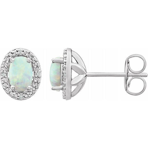 Sterling Silver Created Opal & .025 CTW Diamond  9x7.2 mm Earrings, New item #652632