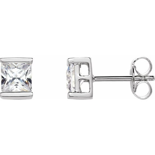 Sterling Silver 5x5 mm Square Cubic Zirconia Stud Earrings, New item #62850