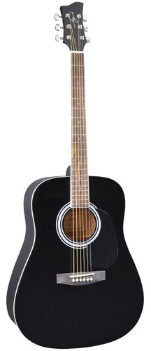 Jay Turser JJ-45 EQ Series Acoustic Guitar, Black #JJ45-EQ-BK-A-U