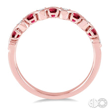 1/6 Ctw Round Cut Diamond and 1.80mm Ruby Precious Waves Wedding Band in 14K Pink Gold, New item #46398FHRBPG