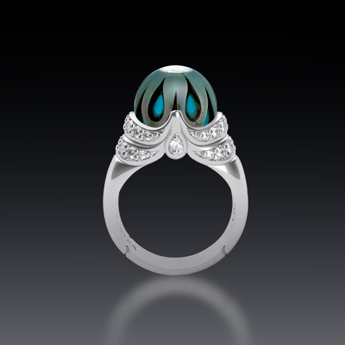 Galatea Tahitian Pearl Ring with R.C. Turquoise and Diamonds in 14k White Gold, New item #v37646.sc