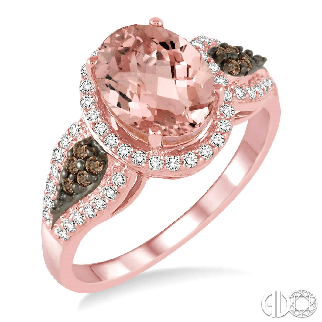 9x7 MM Oval Shape Morganite and 1/3 Ctw White and Champagne Brown Diamond Ring in 14K Pink Gold ASHI Style, New #51475FHMOPG