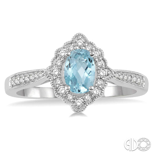 1/5 Ctw Oval Shape 6x4mm Aquamarine & Round Cut Diamond Semi Precious Ring in 10K White Gold ASHI Style New #52367TSAQWG