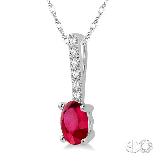 1/20 Ctw Round Cut Diamond and Oval Cut 6x4mm Ruby Precious Pendant in 10K White Gold with chain, New item #57279TSPDRBWG