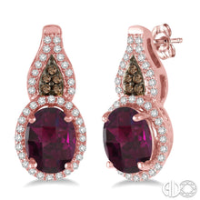 8x6 MM Oval Shape Rhodolite Garnet and 1/3 Ctw White and Champagne Brown Diamond Earrings in 14K Pink Gold ASHI Style, New #61164FHERRHPG
