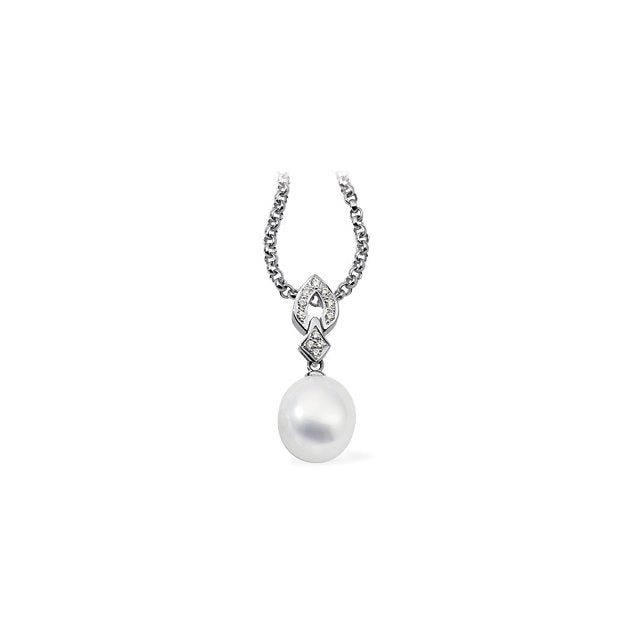 18K Palladium White 1/6 CTW Diamond Semi-Set Pendant for Pearl, New item #63153