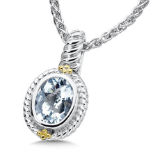 Colore Sg Sterling Silver Aquamarine Pendant With Chain 6.3grams, New item #LZP528-AQ