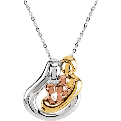 Sterling Silver Tri-Color Embraced by the Heart™ Family Necklace, this is New Item #R45220:60003:P