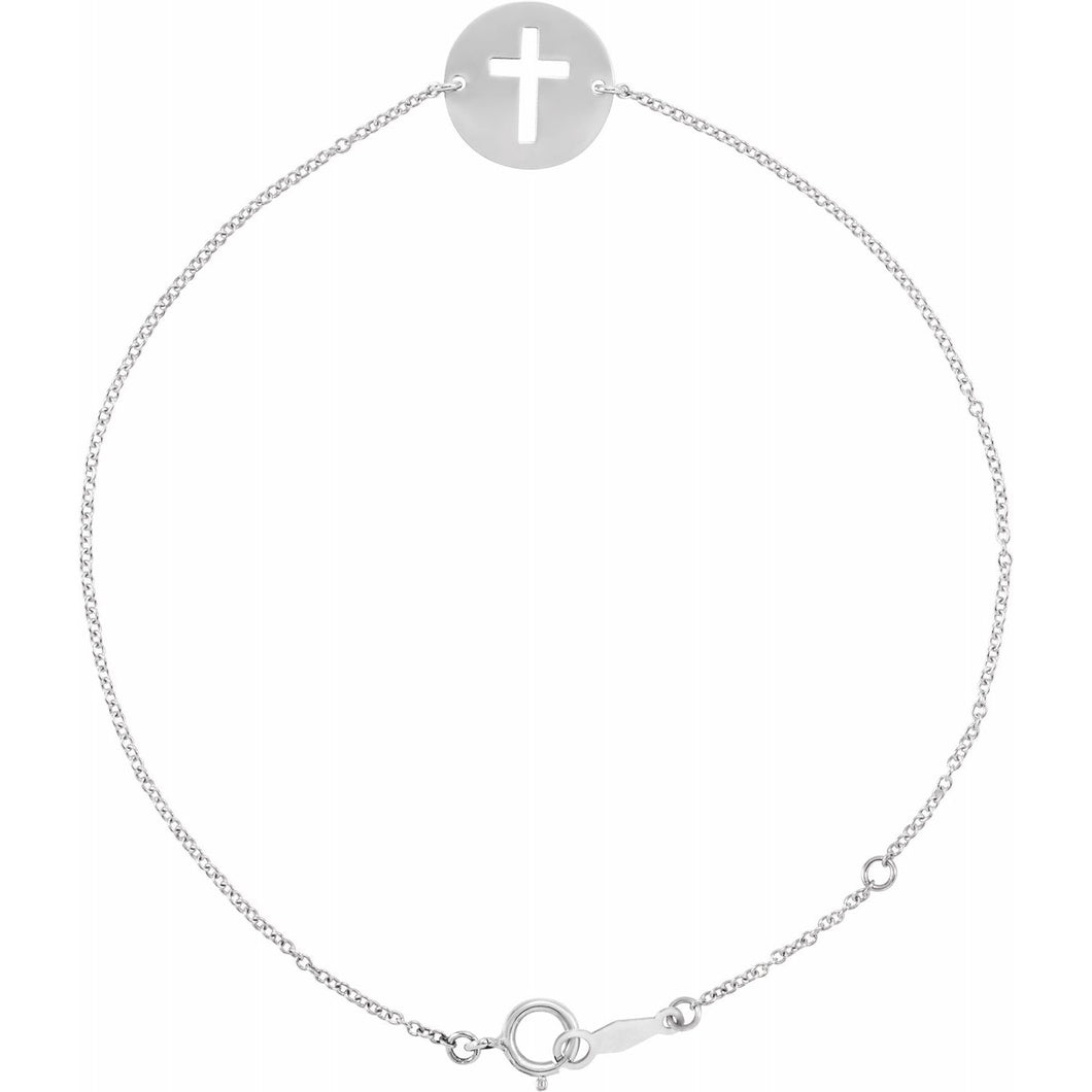 14K White Pierced Cross Disc 7-8