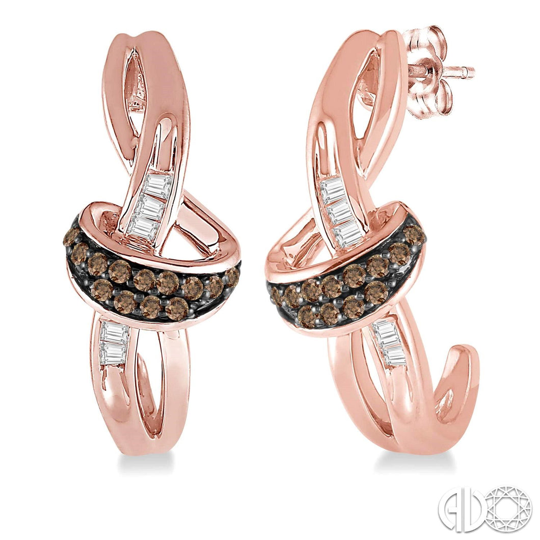 1/6 Ctw Twirl Entwined Baguette & Brown Diamond Earrings in 10K Pink Gold ASHI Style New #68068TXERPG