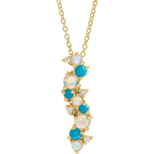 14K YellowEthiopian Opal Turquoise & .03 CTW Diamond Necklace