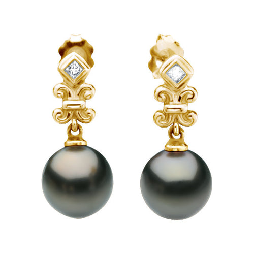Tahitian Cultured Pearl & Diamond Earrings, New item #65126
