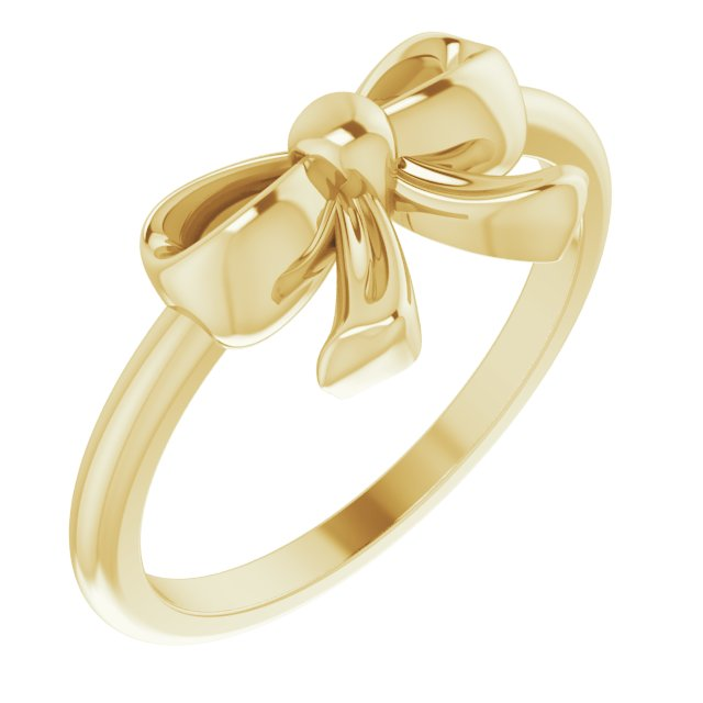 Ladies Solid 14k Yellow Gold Bow Ring Size 7, New item #52281:104:P