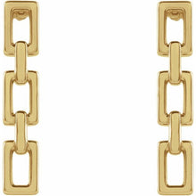 Ladies Solid 14K Yellow Gold Chain Link Earrings, New item #87335:104:P