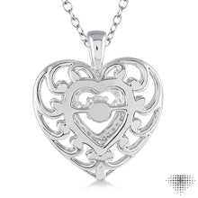 1/20 Ctw Heart Shape Diamond Emotion Pendant in Sterling Silver with Chain ASHI Style New #80019SXSLPD