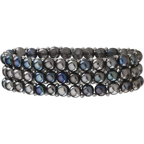Sterling Silver Freshwater Cultured Black Pearl 3 Row Stretch Bracelet, New item  #63923