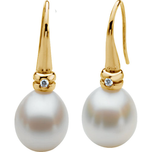 18K Yellow .06 CTW Diamond Semi-Set Earring for Pearl, New item #63098