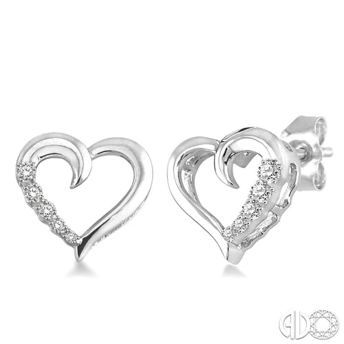 1/20 Ctw Single Cut Diamond Heart Shape Diamond Journey Earrings in Sterling Silver ASHI Style New #86799SSSLER