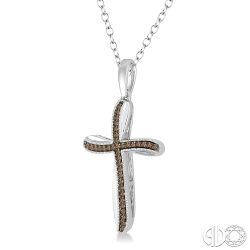 1/6 Ctw Round Cut Champagne Brown Diamond Cross Pendant in Sterling Silver with Chain Style New #86817SBSLPD