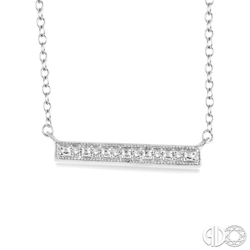1/20 Ctw Round Cut Diamond Stick Pendant in Sterling Silver with Chain, New item #86979SSSLPD