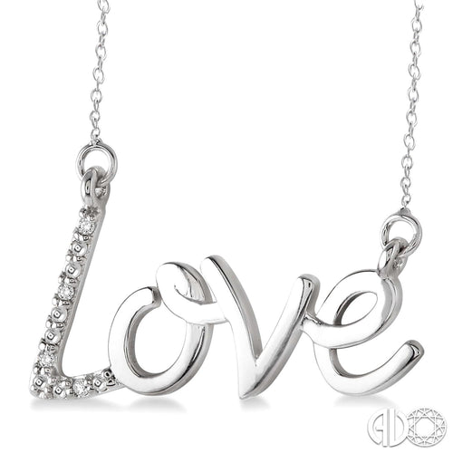 1/50 Ctw Single Cut Diamond Love Pendant in Sterling Silver with Chain ASHI Style New #87049SSSLPD