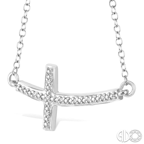 1/50 Ctw Round Cut Diamond Cross Pendant in Sterling Silver with Chain ASHI Style New #87959SSSLPD
