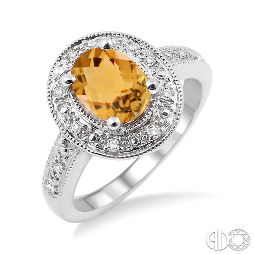 8x6 MM Oval Cut Citrine and 1/20 Ctw Single Cut Diamond Ring in Sterling Silver ASHI Style New #88128SSCTSLRG