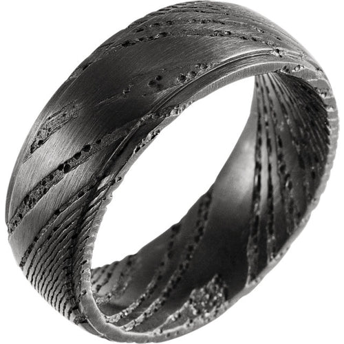 Damascus Steel Flat Black Patterned Band, New Item #STST1