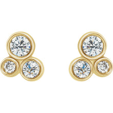 14K White and Yellow Gold 1/5 CTW Diamond Geometric Cluster Earrings, New Item #86752:600:P