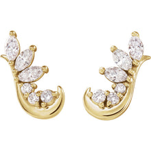 14K Yellow gold 1/4 CTW Diamond Earring Climbers