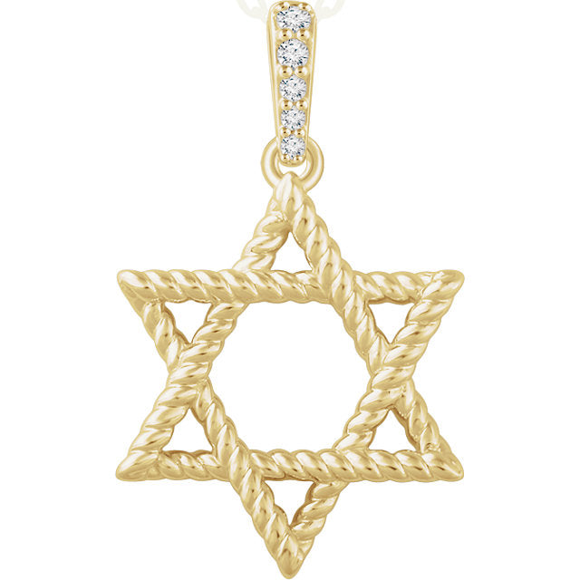 14K Yellow or White Gold .025 CTW Diamond Star of David Pendant, New #652724