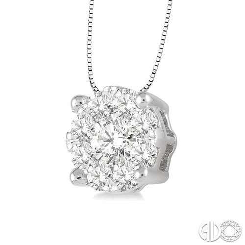 1/4 Ctw Lovebright Round Cut Diamond Pendant in 14K White Gold with Chain, New item #91756FHPDWG