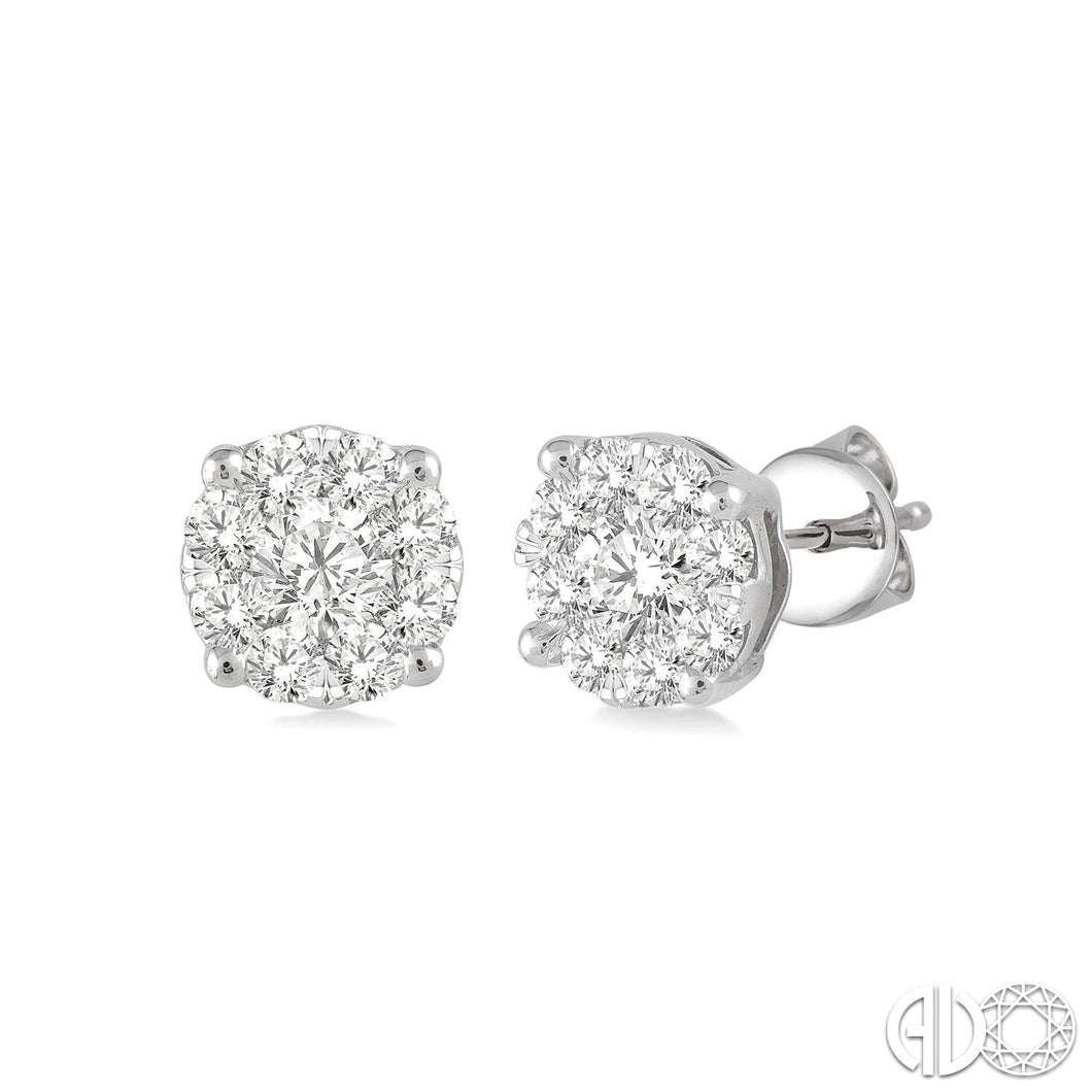 1/6 Ctw Lovebright Round Cut Diamond Earrings in 14K White Gold, New Item #91758FHERWG