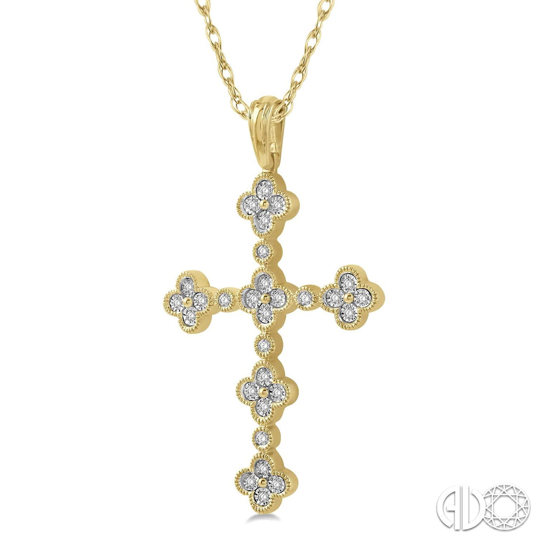 1/8 Ctw Floral Cross Round Cut Diamond Pendant With Link Chain in 10K Yellow Gold ASHI Style New #950A8TSPDYG