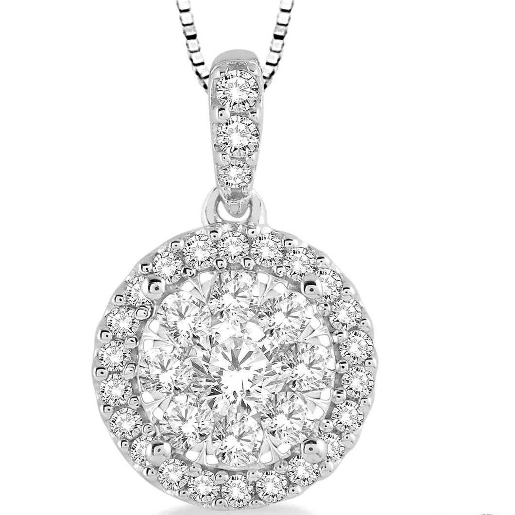 1/3 Ctw Round Cut Diamond Lovebright Pendant in 14K White Gold with Chain, New item #96295FVPDWG