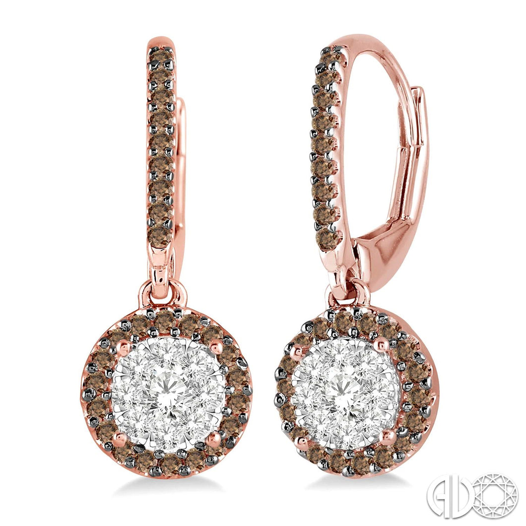 5/8 Ctw Round Cut White and Champagne Brown Diamond Lovebright Earrings in 14K Rose and White Gold ASHI Style, New #96323FVERPW