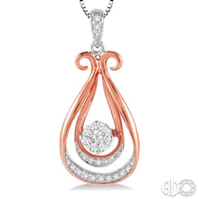 1/5 Ctw Lovebright Round Cut Diamond Pendant in 10K White and Rose/Pink Gold with Chain ASHI Style New #98037THPDWP