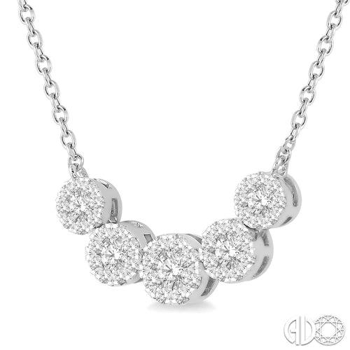 1/2 Ctw Round Cut Diamond Lovebright Necklace in 14K White Gold, New Item #9936HFVNKWG