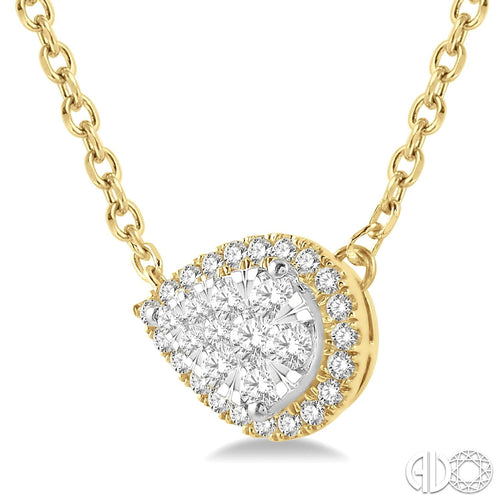 1/3 Ctw Reclining Pear Shape Lovebright Round Cut Diamond Necklace in 14K Yellow and White Gold, New item #9970UFHNKYW