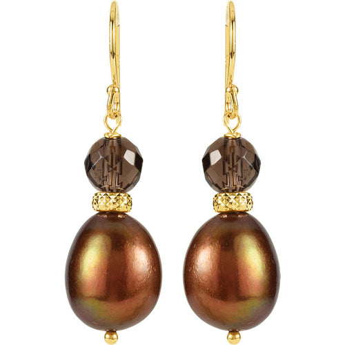 14K Yellow Freshwater Cultured Pearl & Smoky Quartz Earrings, New item #650156